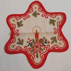Beautiful Danish Embroidered Christmas Table-mat